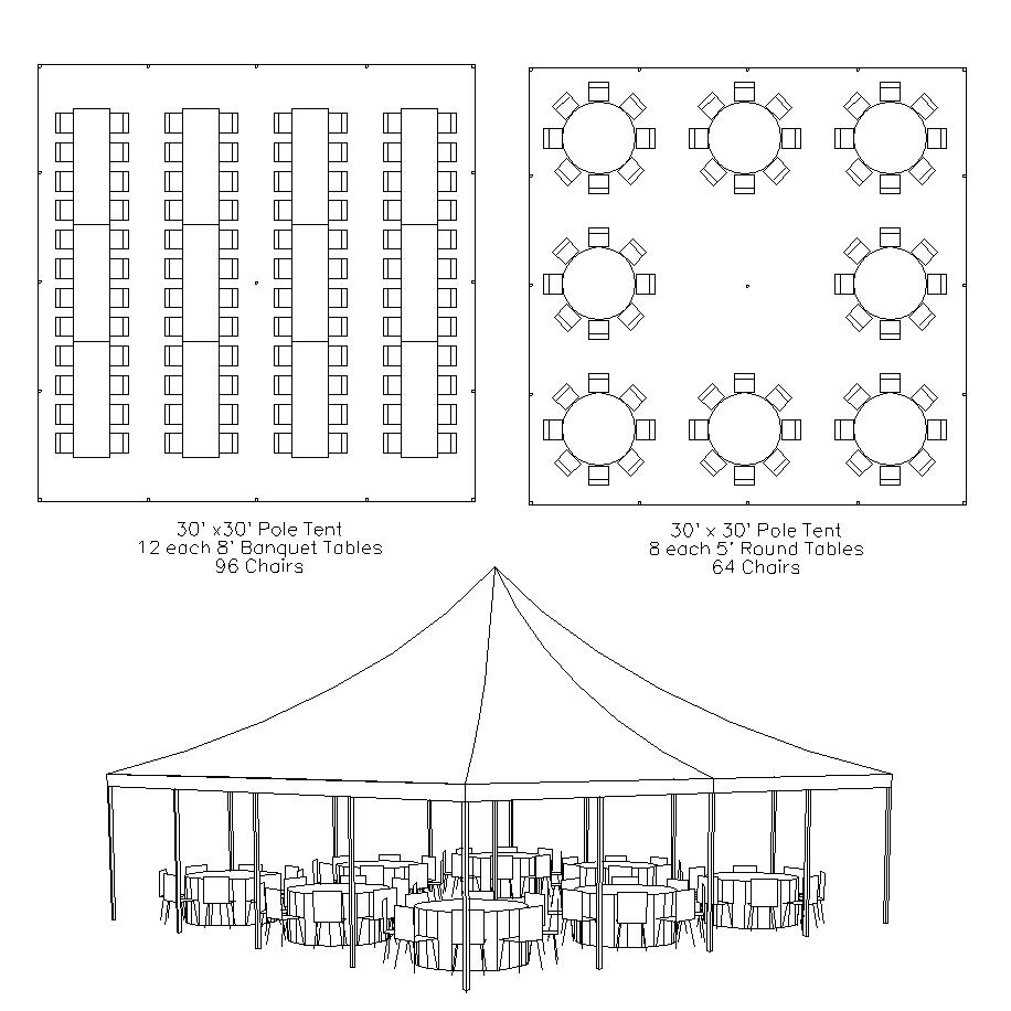 Pole tents hoosier tent party rentals for Wedding tent layout
