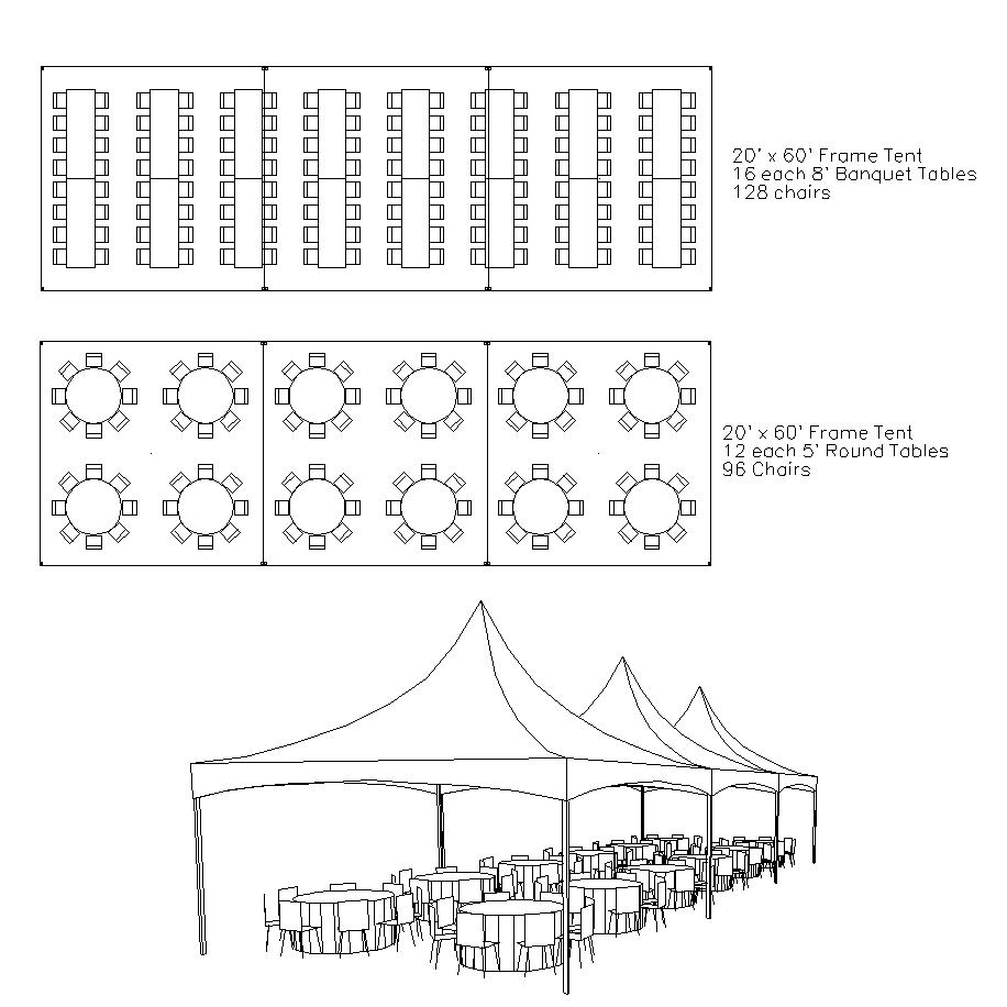 Frame tents hoosier tent party rentals for Wedding tent layout