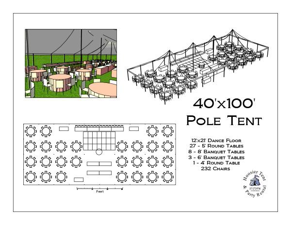 40 x 100 Pole Tent